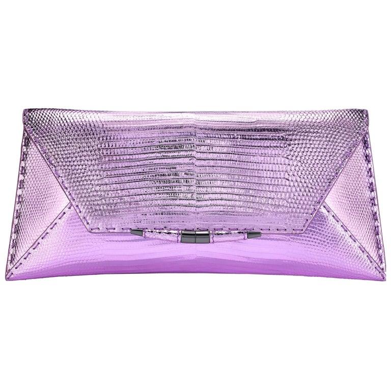 TYLER ELLIS Aimee Clutch in Pink and Purple Metallic Lizard For Sale