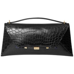 TYLER ELLIS Aimee Clutch Large Black Alligator Gold Hardware