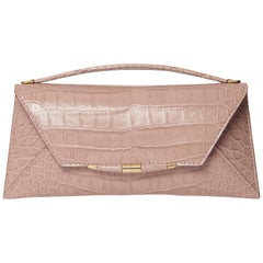 TYLER ELLIS Aimee Clutch Large Blush Alligator Gold Hardware
