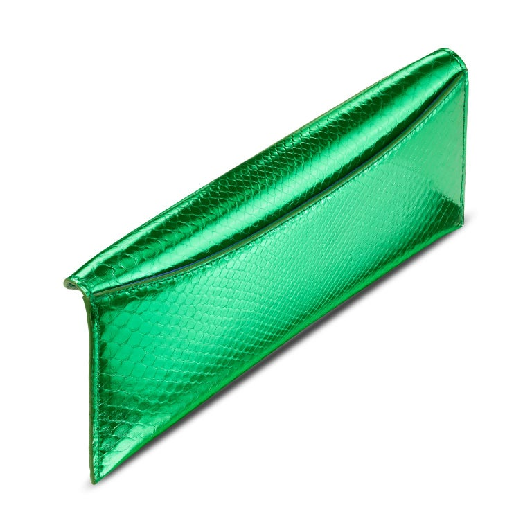 Women's TYLER ELLIS Aimee Clutch Large Bright Green Python Gold Hardware For Sale