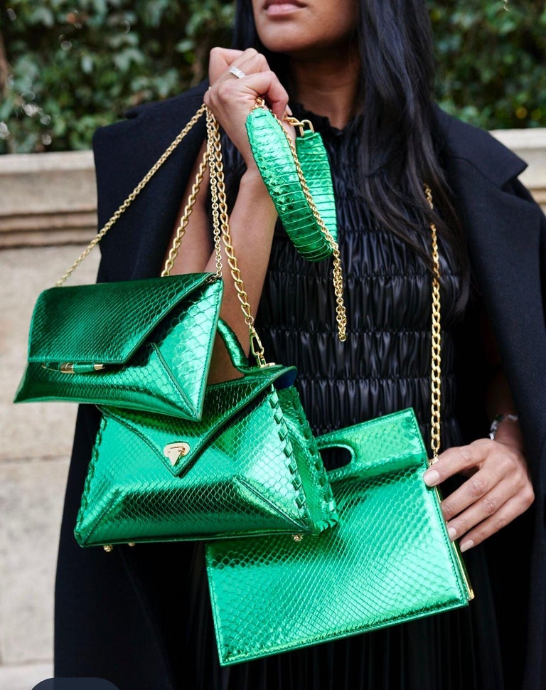 TYLER ELLIS Aimee Clutch Large Bright Green Python Gold Hardware For Sale 1
