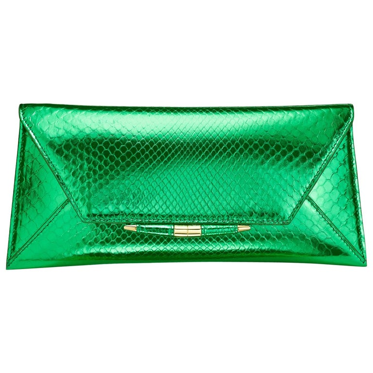 TYLER ELLIS Aimee Clutch Large Bright Green Python Gold Hardware For Sale
