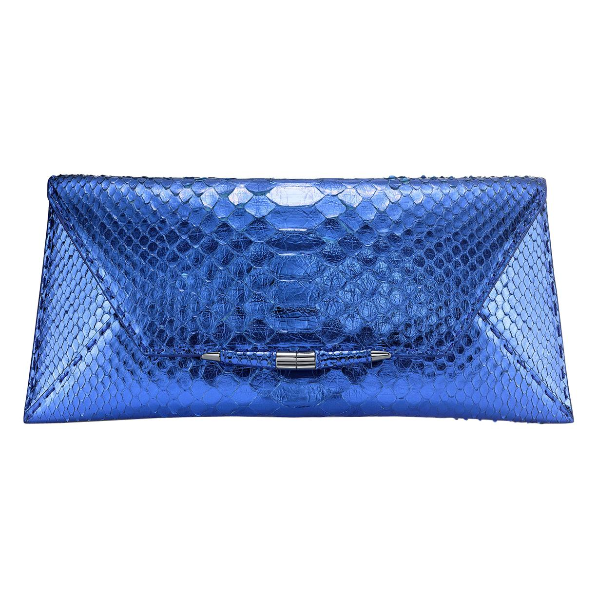 TYLER ELLIS Aimee Clutch Large Metallic Blue Python Gunmetal Hardware