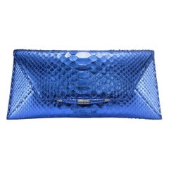 TYLER ELLIS Aimee Clutch Large Metallic Blue Python Gunmetal Hardware