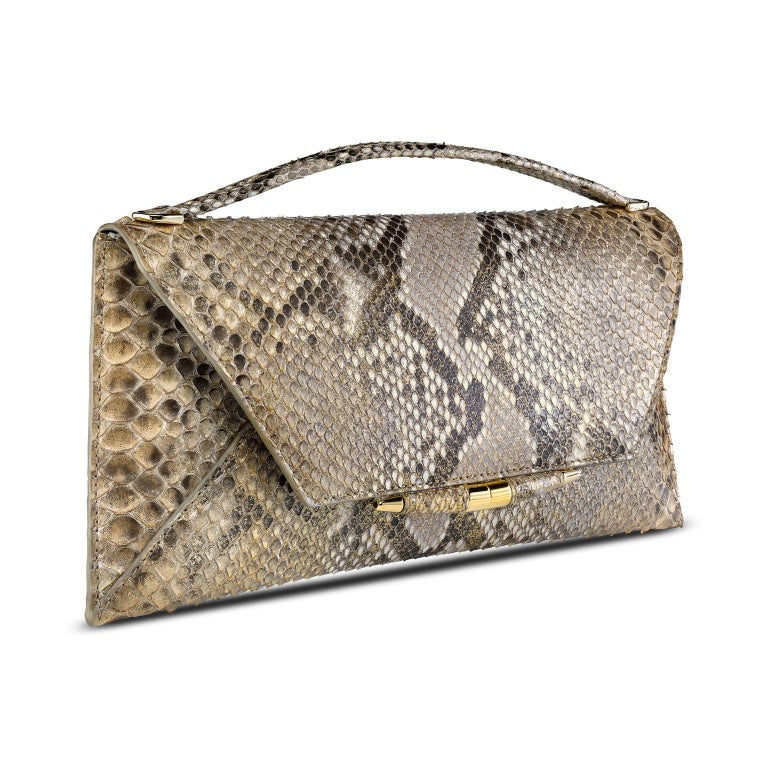 Brown TYLER ELLIS Aimee Clutch Large Metallic Gold Natural Python Gold Hardware For Sale