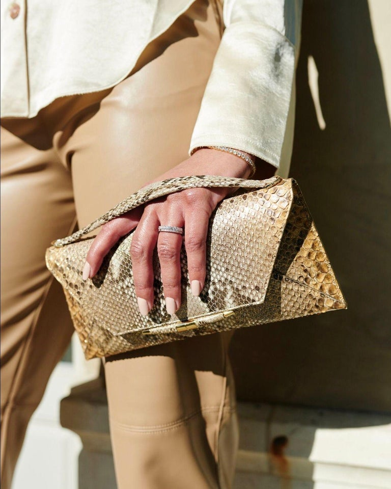 Women's TYLER ELLIS Aimee Clutch Large Metallic Gold Natural Python Gold Hardware For Sale