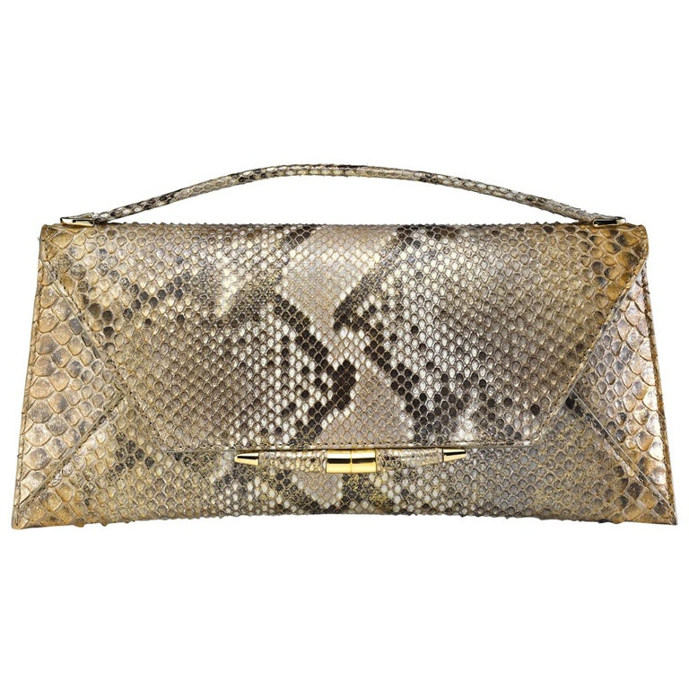 TYLER ELLIS Aimee Clutch Large Metallic Gold Natural Python Gold Hardware For Sale