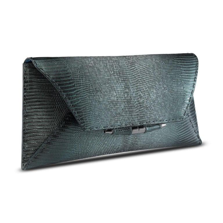 Black TYLER ELLIS Aimee Clutch Large Peacock Blue-Green Lizard Gunmetal Hardware For Sale