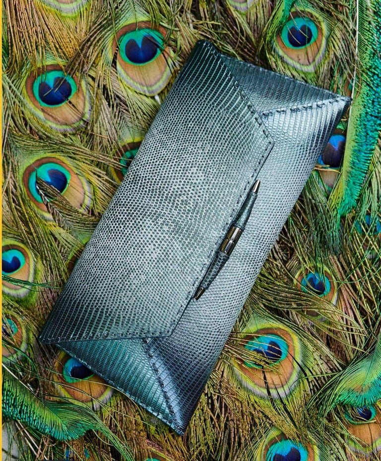 TYLER ELLIS Aimee Clutch Large Peacock Blue-Green Lizard Gunmetal Hardware For Sale 1