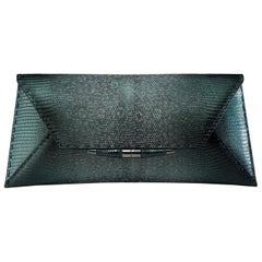 TYLER ELLIS Aimee Clutch Large Peacock Blue-Green Lizard Gunmetal Hardware