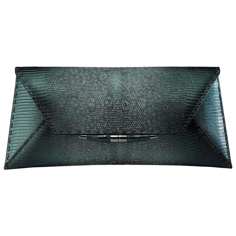 TYLER ELLIS Aimee Clutch Large Peacock Blue-Green Lizard Gunmetal Hardware For Sale