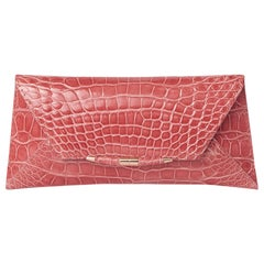 TYLER ELLIS Aimee Clutch Large Rose Alligator Rose Gold Hardware