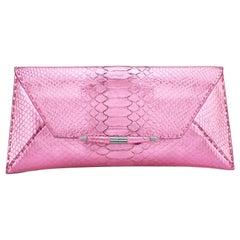 TYLER ELLIS Aimee Clutch Metallic Pink Python Gunmetal Hardware