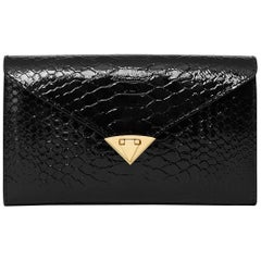 TYLER ELLIS Alex Wallet Black Patent Python Gold Hardware