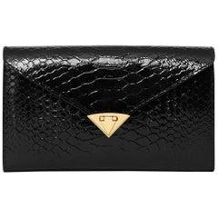 TYLER ELLIS Alex Wallet Black Noir Glossy Python Gold Hardware