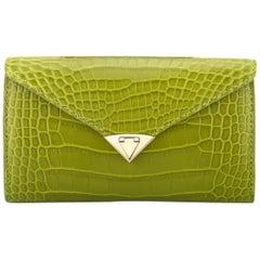 TYLER ELLIS Alex Wallet Green Olive Martini Alligator Gold Hardware