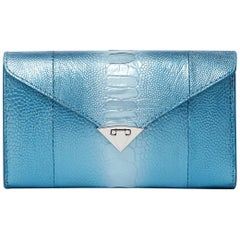 TYLER ELLIS Alex Wallet Metallic Blue Ostrich Leg Silver Hardware