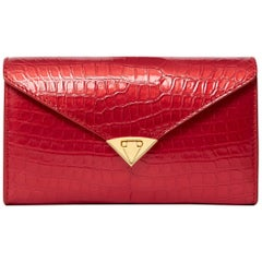 TYLER ELLIS Alex Wallet Metallic Red Alligator Gold Hardware