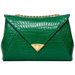 TYLER ELLIS Amanda Medium Emerald Green Alligator Gold Hardware