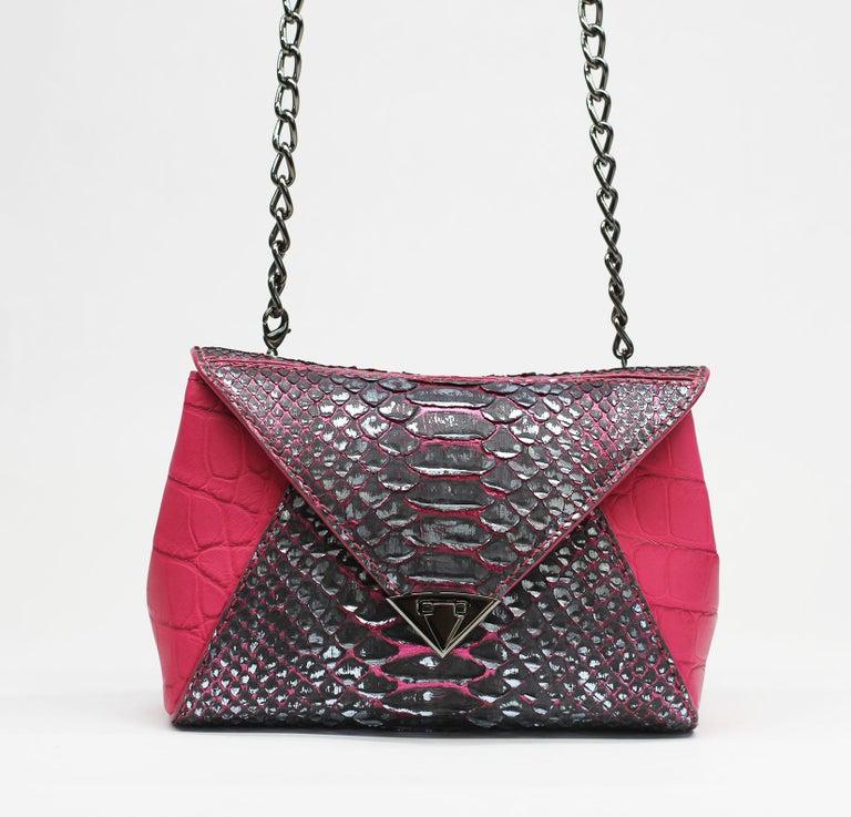 Women's TYLER ELLIS Amanda Mini Black/Silver Python + Pink Alligator Gunmetal Hardware For Sale