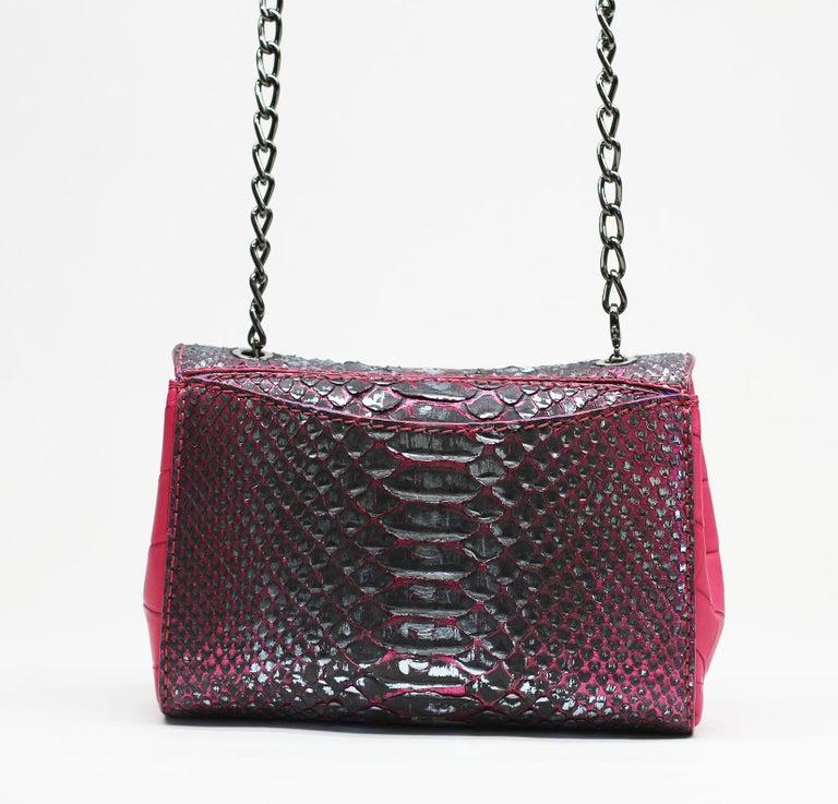 TYLER ELLIS Amanda Mini Black/Silver Python + Pink Alligator Gunmetal Hardware For Sale 2