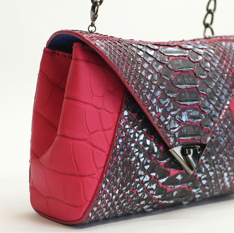 TYLER ELLIS Amanda Mini Black/Silver Python + Pink Alligator Gunmetal Hardware For Sale 3