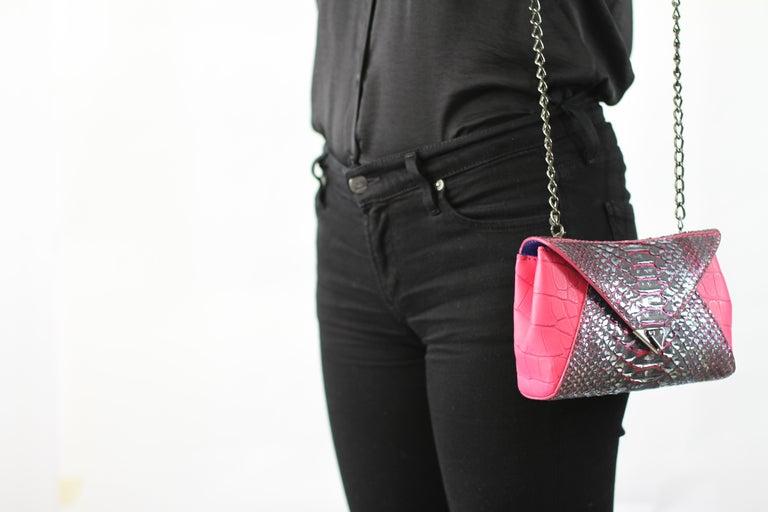 TYLER ELLIS Amanda Mini Black/Silver Python + Pink Alligator Gunmetal Hardware For Sale 4