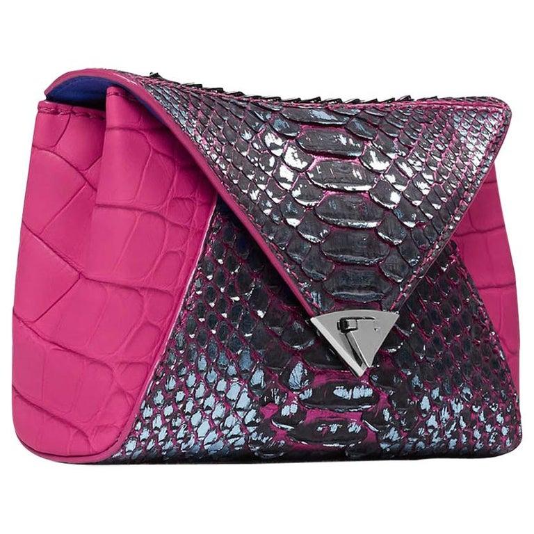 TYLER ELLIS Amanda Mini Black/Silver Python + Pink Alligator Gunmetal Hardware For Sale