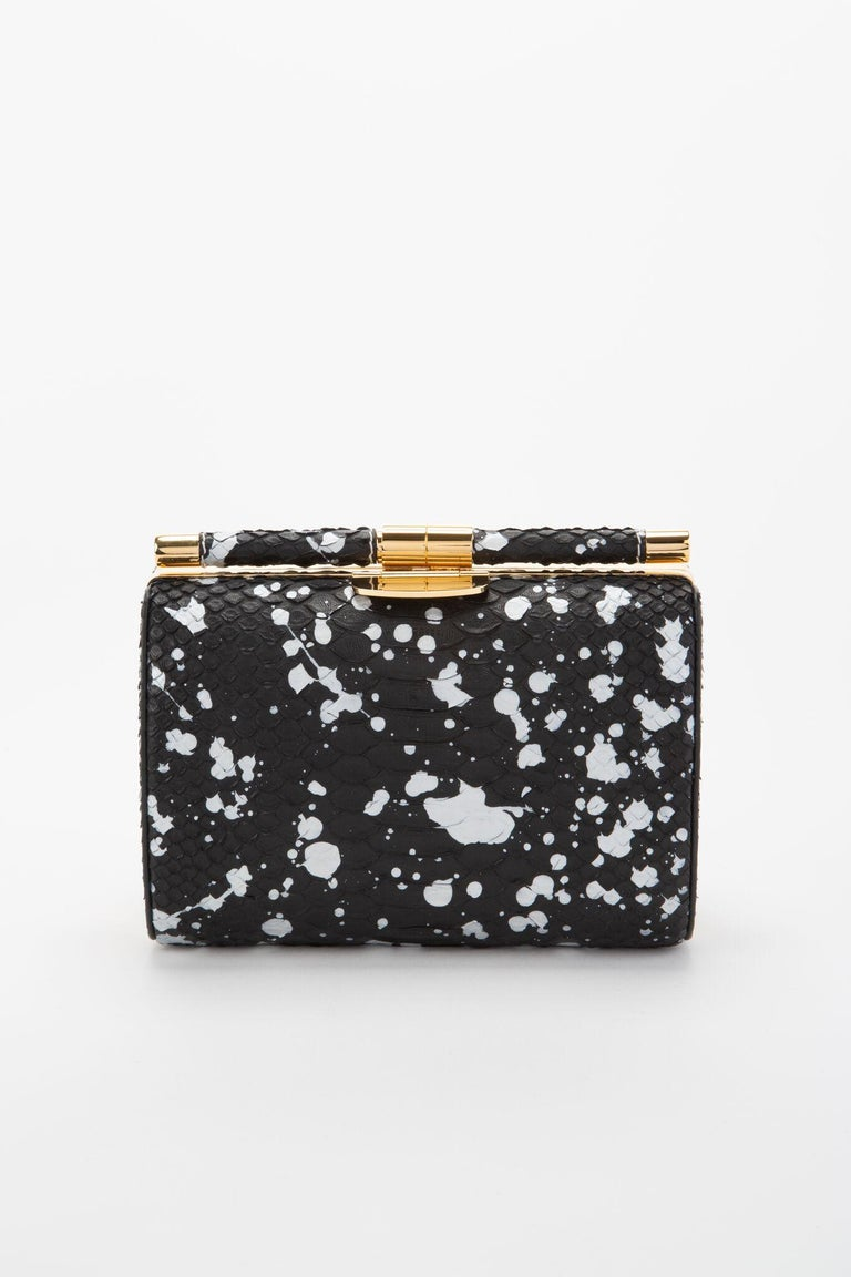TYLER ELLIS Anjuli Clutch Medium Black/White Splash Python Gold Hardware In New Condition In Los Angeles, CA