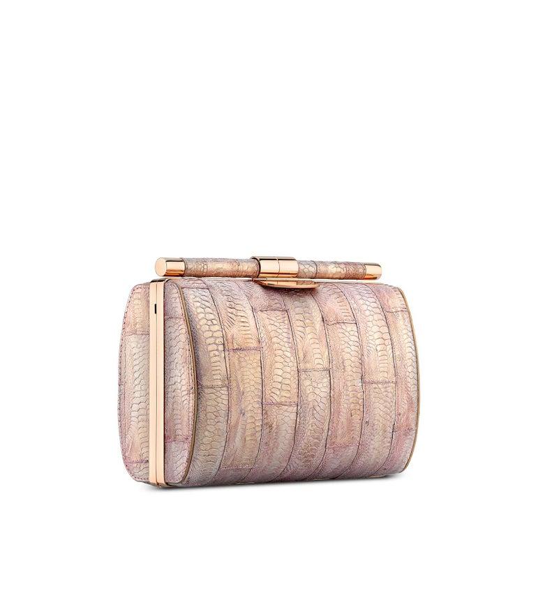 Beige TYLER ELLIS Anjuli Clutch Medium Metallic Pink Jungle Fowl Rose Gold Hardware For Sale