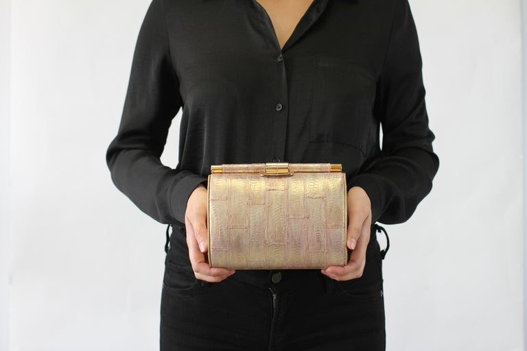 TYLER ELLIS Anjuli Clutch Medium Metallic Pink Jungle Fowl Rose Gold Hardware In New Condition For Sale In Los Angeles, CA