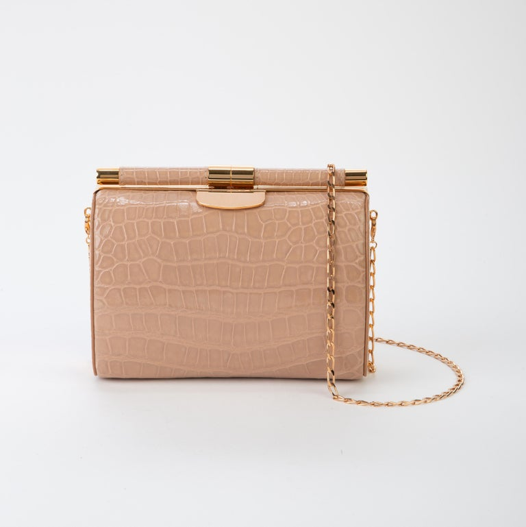 Brown TYLER ELLIS Anjuli Clutch Medium Nude Glossy Alligator Rose Gold Hardware For Sale
