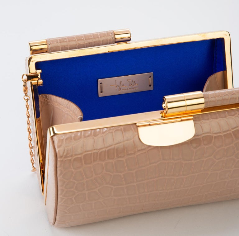 TYLER ELLIS Anjuli Clutch Medium Nude Glossy Alligator Rose Gold Hardware In New Condition For Sale In Los Angeles, CA