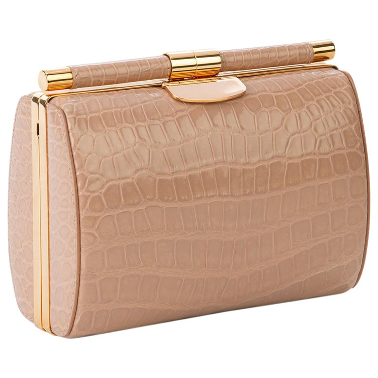 TYLER ELLIS Anjuli Clutch Medium Nude Glossy Alligator Rose Gold Hardware For Sale
