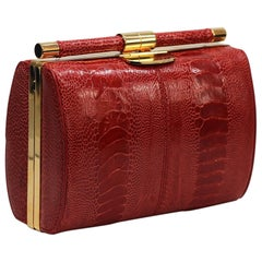 TYLER ELLIS Anjuli Clutch Medium Red Ostrich Leg Gold Hardware