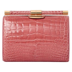 TYLER ELLIS Anjuli Clutch Medium Rose Alligator Rose Gold Hardware