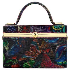 TYLER ELLIS Ava Box Butterfly Printed Lizard Gold Hardware