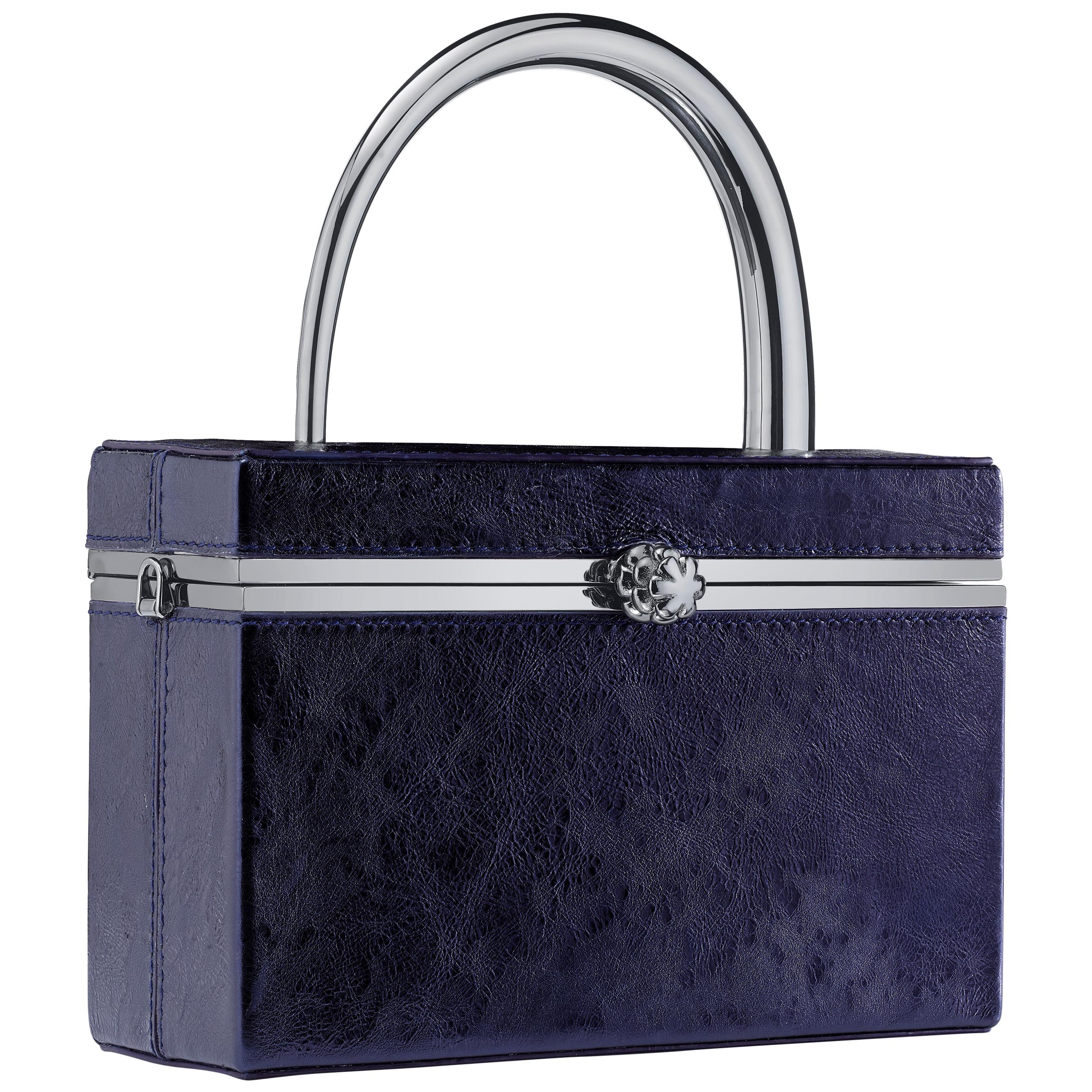 TYLER ELLIS Ava Box in Sapphire Blue Antiqued Leather with Gunmetal Handle