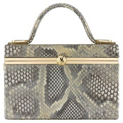 TYLER ELLIS Ava Box Natural Gold Glossy Python Gold Hardware