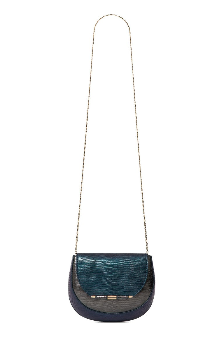 Black TYLER ELLIS Barbara Clutch Small Charcoal/Deep Blue Lizard Gold Hardware For Sale