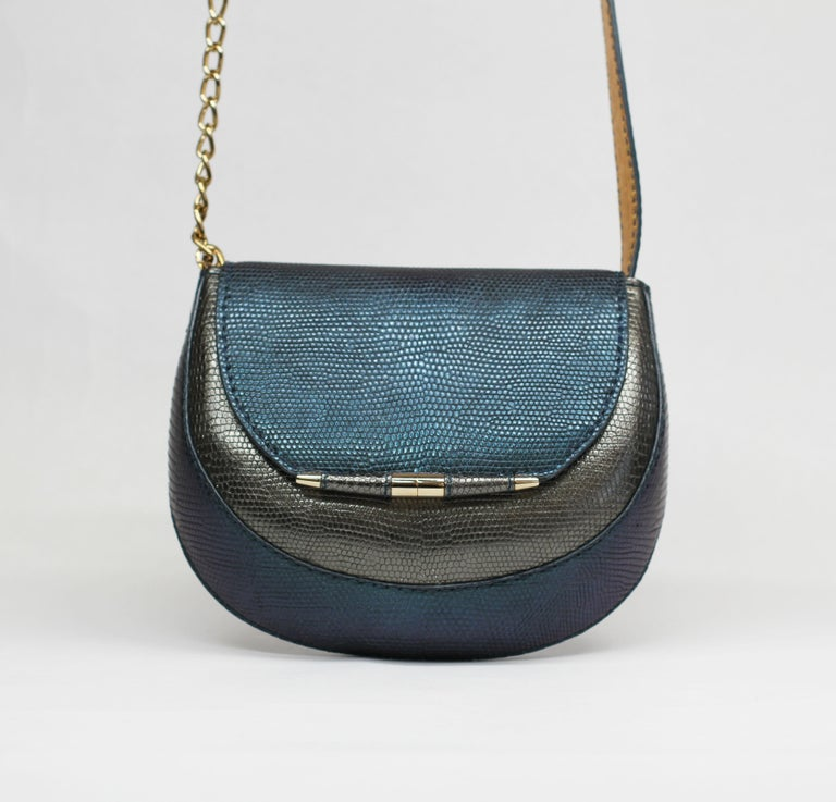 TYLER ELLIS Barbara Clutch Small Charcoal/Deep Blue Lizard Gold Hardware In New Condition For Sale In Los Angeles, CA