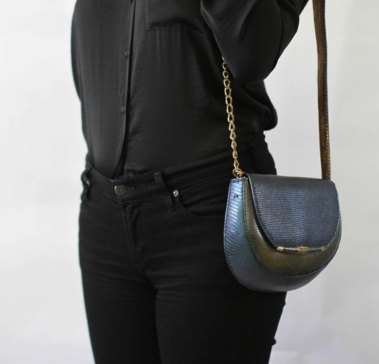TYLER ELLIS Barbara Clutch Small Charcoal/Deep Blue Lizard Gold Hardware For Sale 1