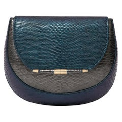 TYLER ELLIS Barbara Clutch Small Charcoal/Deep Blue Lizard Gold Hardware