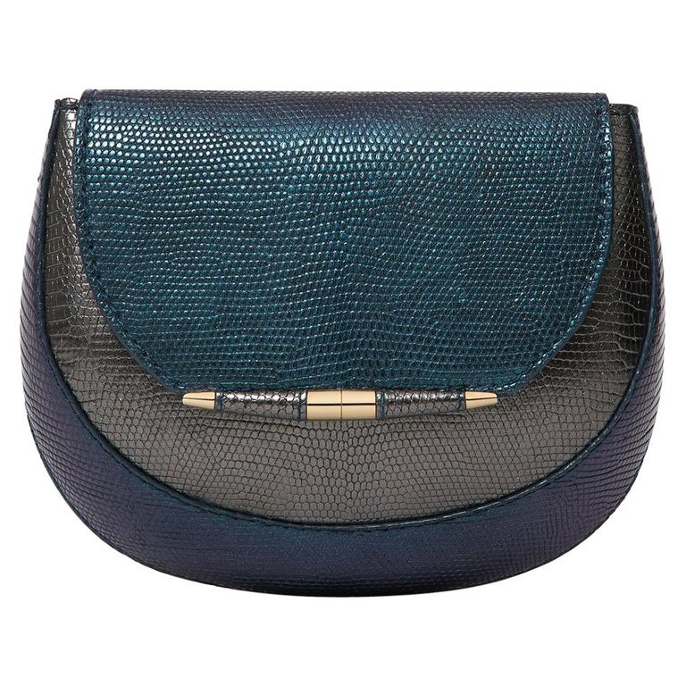 TYLER ELLIS Barbara Clutch Small Charcoal/Deep Blue Lizard Gold Hardware For Sale