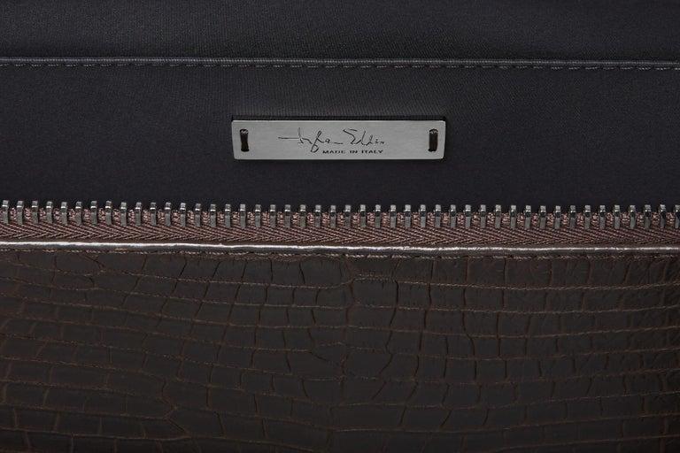 Black TYLER ELLIS Ben Attache Brown Matte Alligator Gunmetal Hardware For Sale