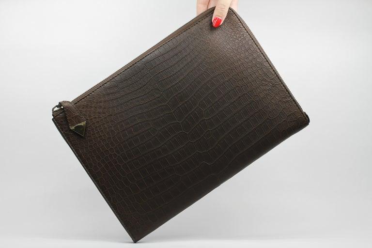 Women's or Men's TYLER ELLIS Ben Attache Brown Matte Alligator Gunmetal Hardware For Sale
