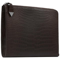TYLER ELLIS Ben Attache Brown Matte Alligator Gunmetal Hardware