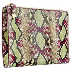 TYLER ELLIS Ben Attache Natural/Green/Magenta Python Gold Hardware