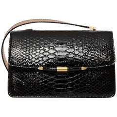TYLER ELLIS Candy Medium Black Patent Python + Rose Gold Ostrich Gold Hardware