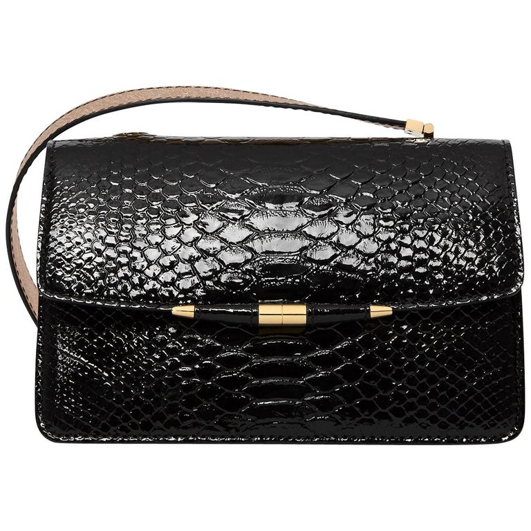 TYLER ELLIS Candy Medium Black Patent Python + Rose Gold Ostrich Gold Hardware For Sale